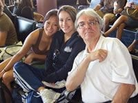 Cristina with her instructor, Rod Gustafson, at the Las Vegas airport after a national tournament.